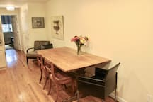 Dining table with ample seating for 6+ people.