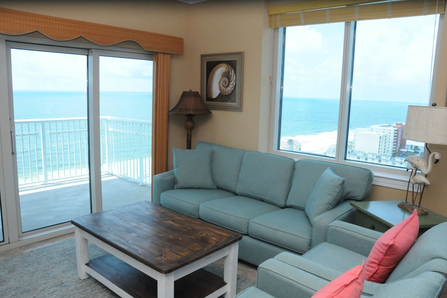 Relax in this updated Living Room while taking in Breathtaking Views of the Gulf