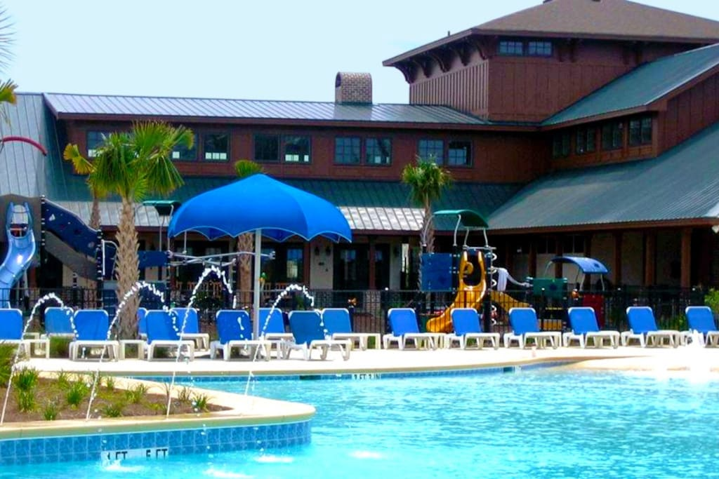 Our 3 tier amenity center with gym and lazy river pool!