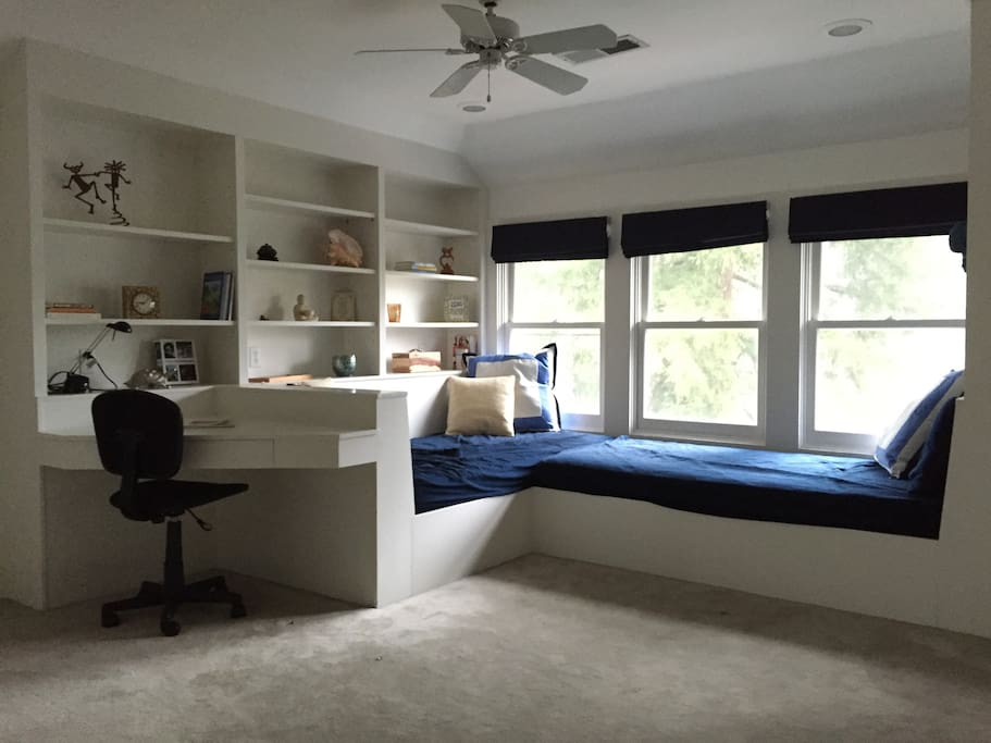Desk/work area and two built in twin beds