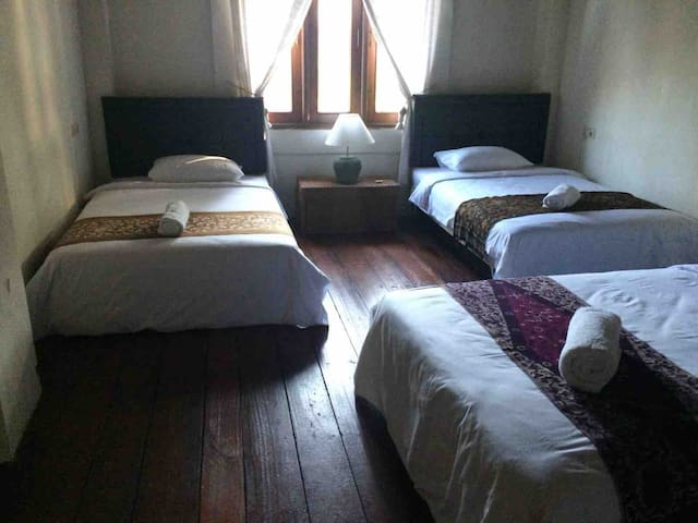 Upstairs...large room with 4 king single beds