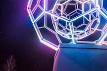 """Buckyball"" is one of many outdoor art pieces all throughout Bentonville. This is not to be missed after sunset!"