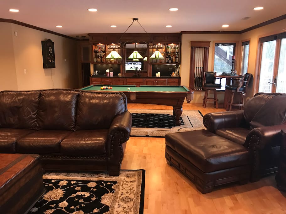 Entertainment room with large screen TV, Billards, Darts & Bar