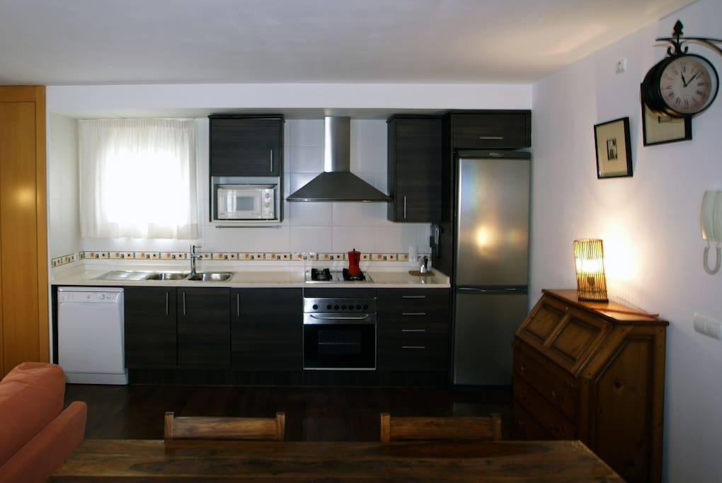 American kitchen in large living room