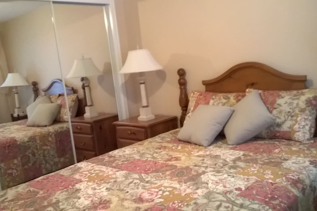 This room has a queen size Temper Pedic Mattress. Large mirrored closet. Ceiling fan.