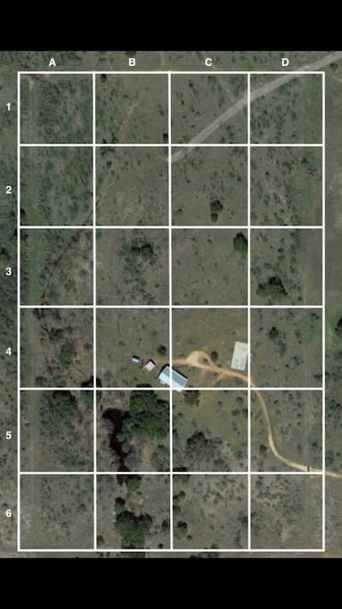 Arial of the 30 fenced in acres, house is same size as old full size basketball court in the arial photo