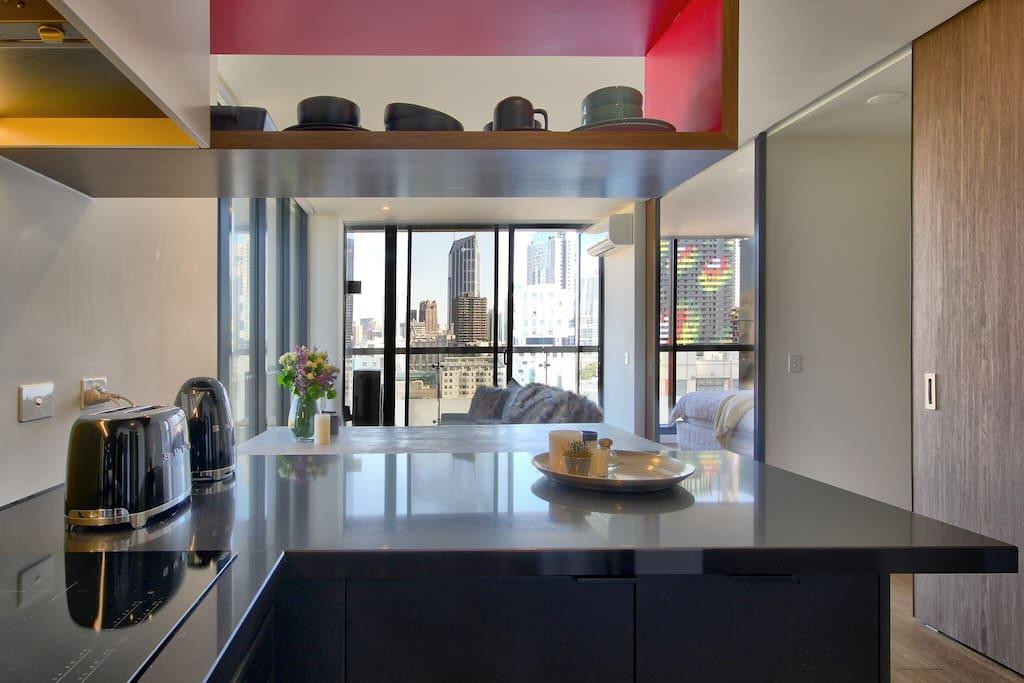 Kitchen views of CBD.
