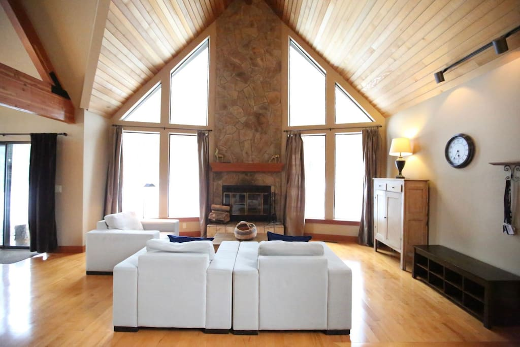 Living with wood burning fireplace