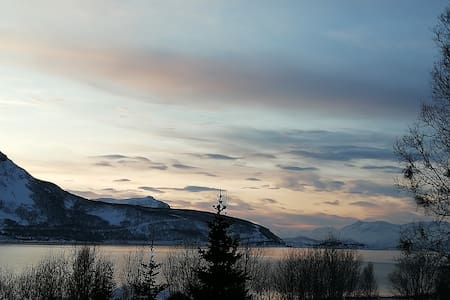 Oksfjord  nothern light, sea and river, ski aerea