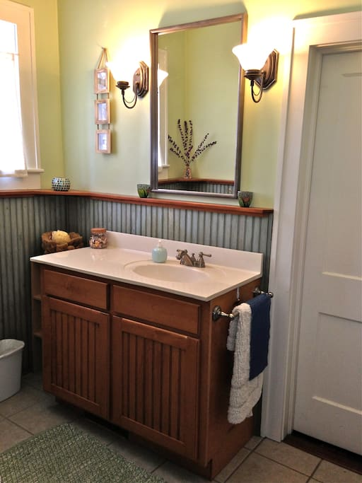 Spacious bathroom with king size vanity.