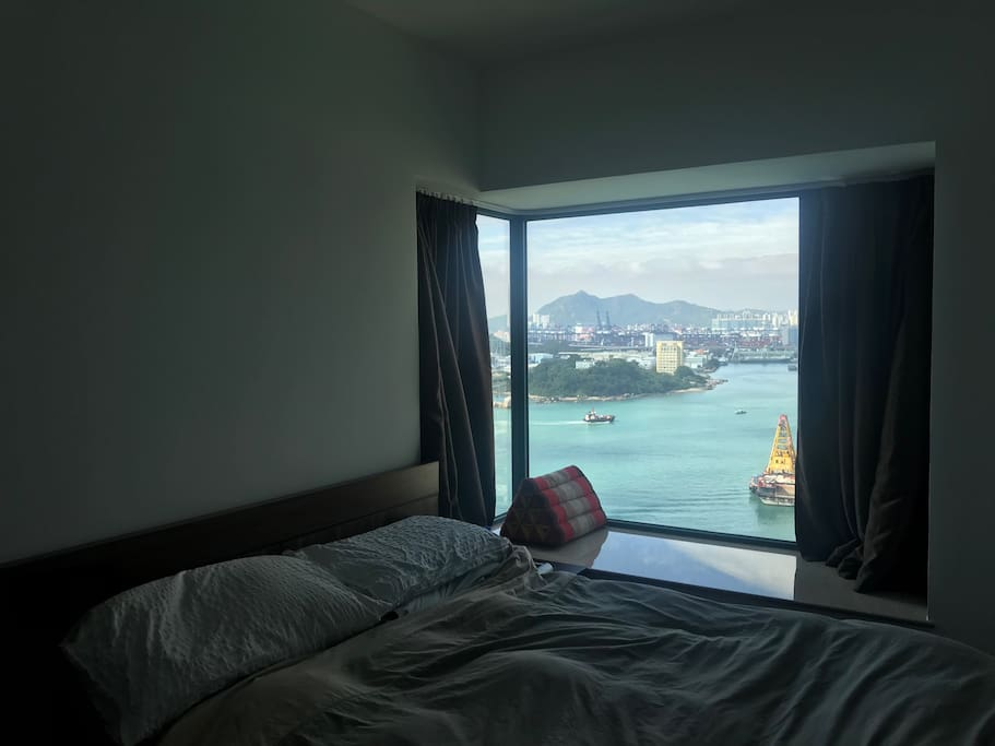 Amazing view from the bedroom. Comfortable queen size bed