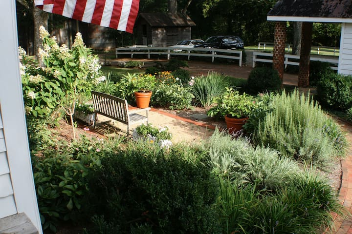 Gardens at the Inn and parking lot