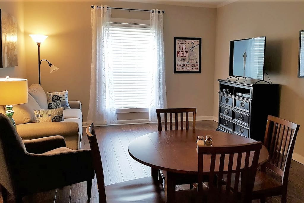 Living/dining area.  Large window lets in lots of light.