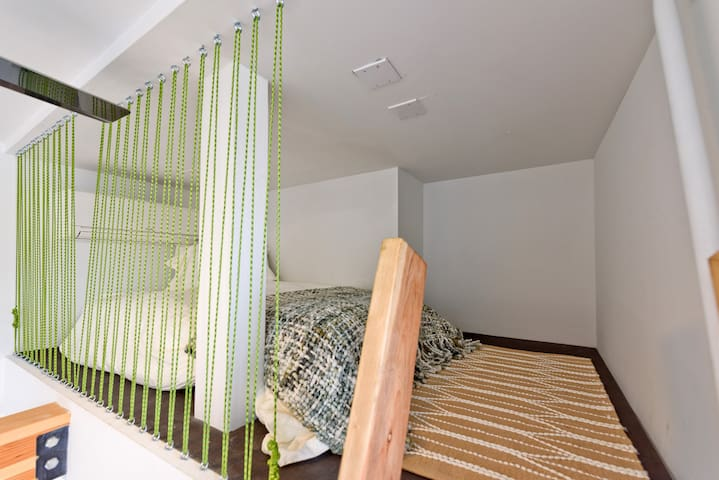 Two twin beds are accessible via the loft ladder.