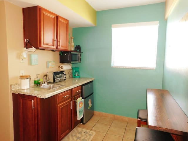 Small Kitchenette with side view of the Beach thru window