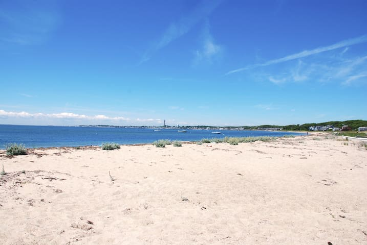 View into Provincetown from the private beach.