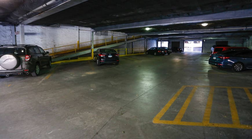 Reserved pot in private parking garage  with secured access to the condo
