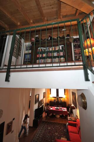 Balcony Library and living room