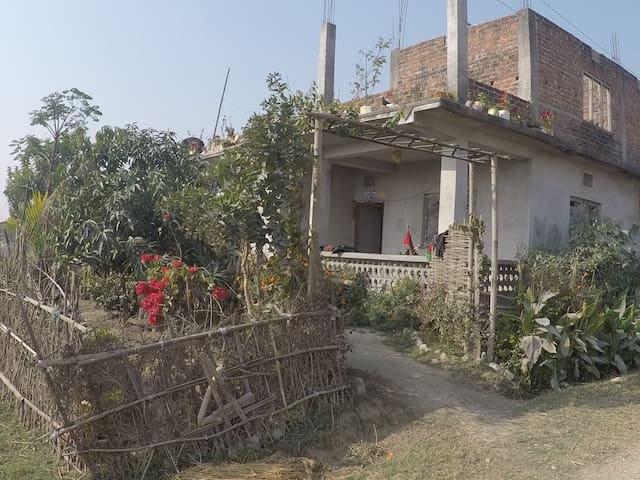 Real traditional nepalese life in the farm