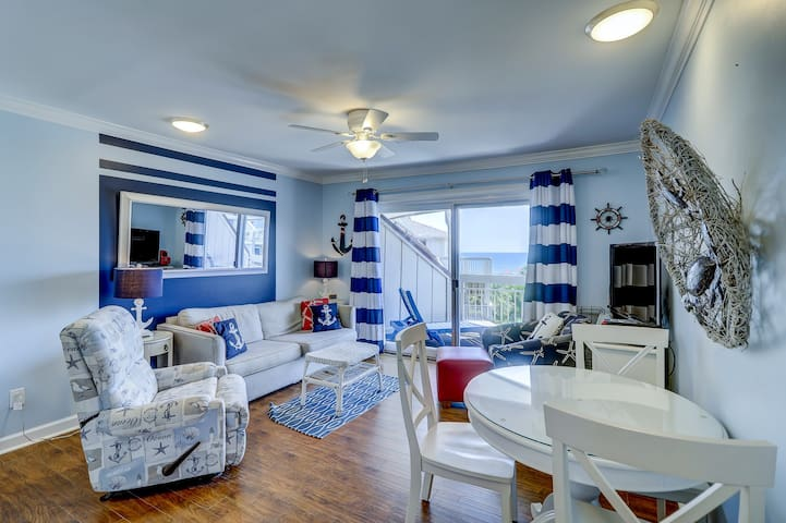 Homey, waterfront villa w/ ocean views, balcony, shared pool - walk to beach