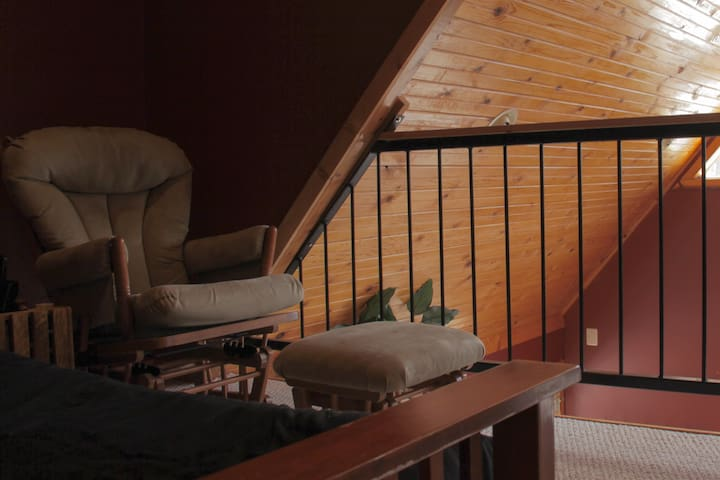 Best place to catch up on your book--our loft.