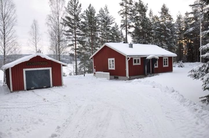 Red lake side Swedish cottage!