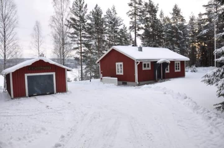 Red lake side Swedish cottage!