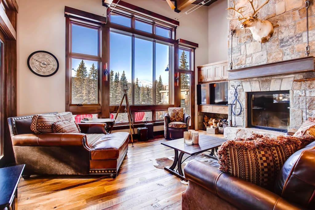 Enjoy views of Quandary Peak while you relax by the warm fire!