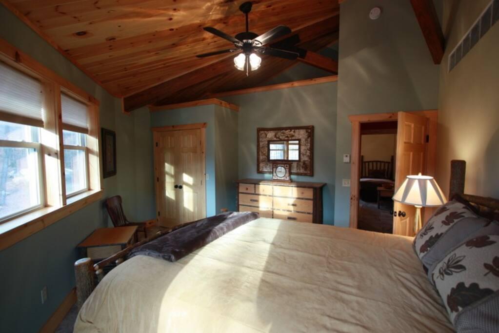 Adirondack style master bedroom
