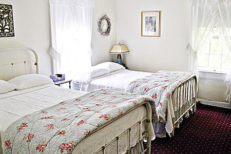 """Two antique iron beds work well for friends traveling together. Bright corner room faces 1840's church next door. Plaster walls, high ceilings, burgundy carpet, pine dresser. Private bath with corner shower, air conditioner, 32""""smartTV, wi-fi."""