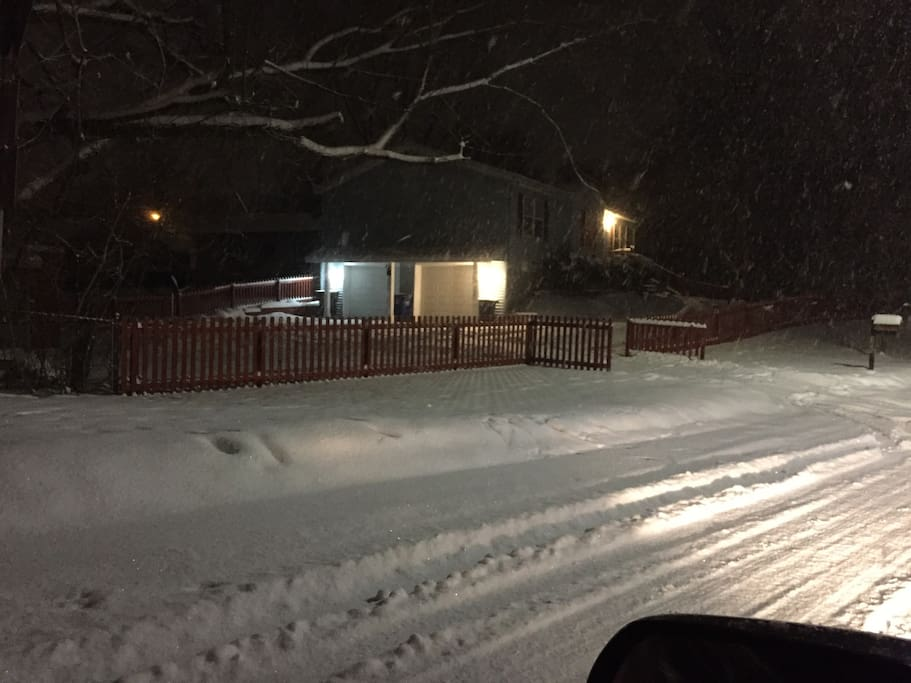 Seeing entrance to driveway from Creek Drive, which is just off Packard.  Your garage is on the right.  A garage is the best during a snow-covered winters.