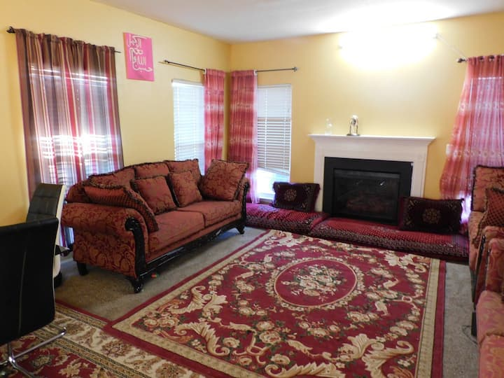 Fully furnished 2 bedrooms N a single family house