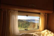 Sea view from the bed first thing in the morning