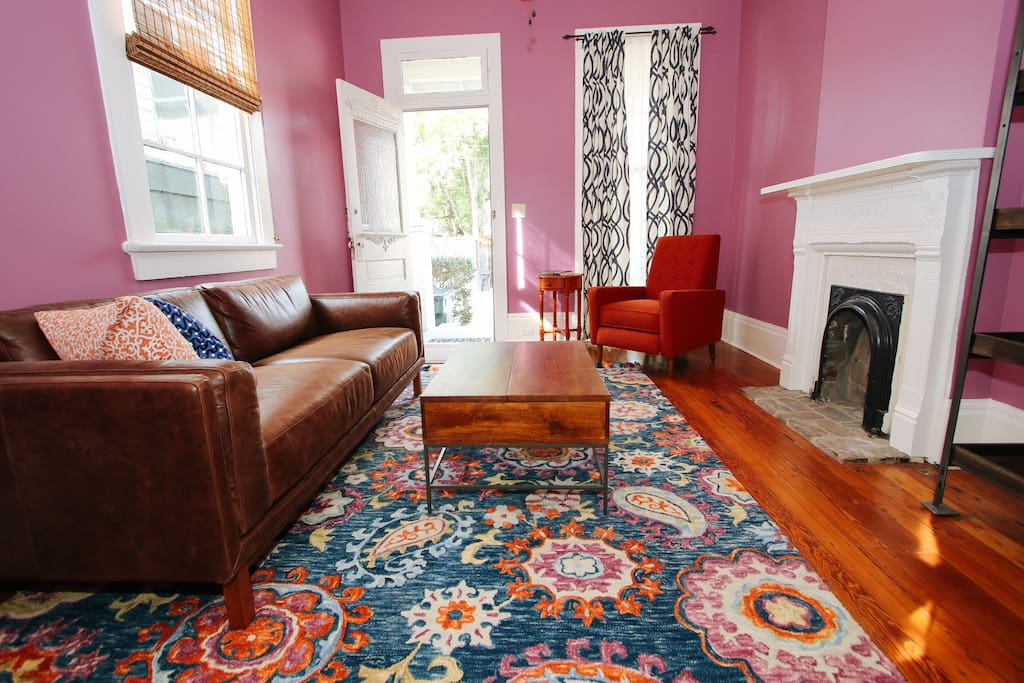 The bright and spacious living room is  super chill and comfy.