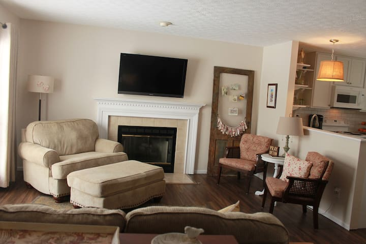 Living area with working gas fireplace.