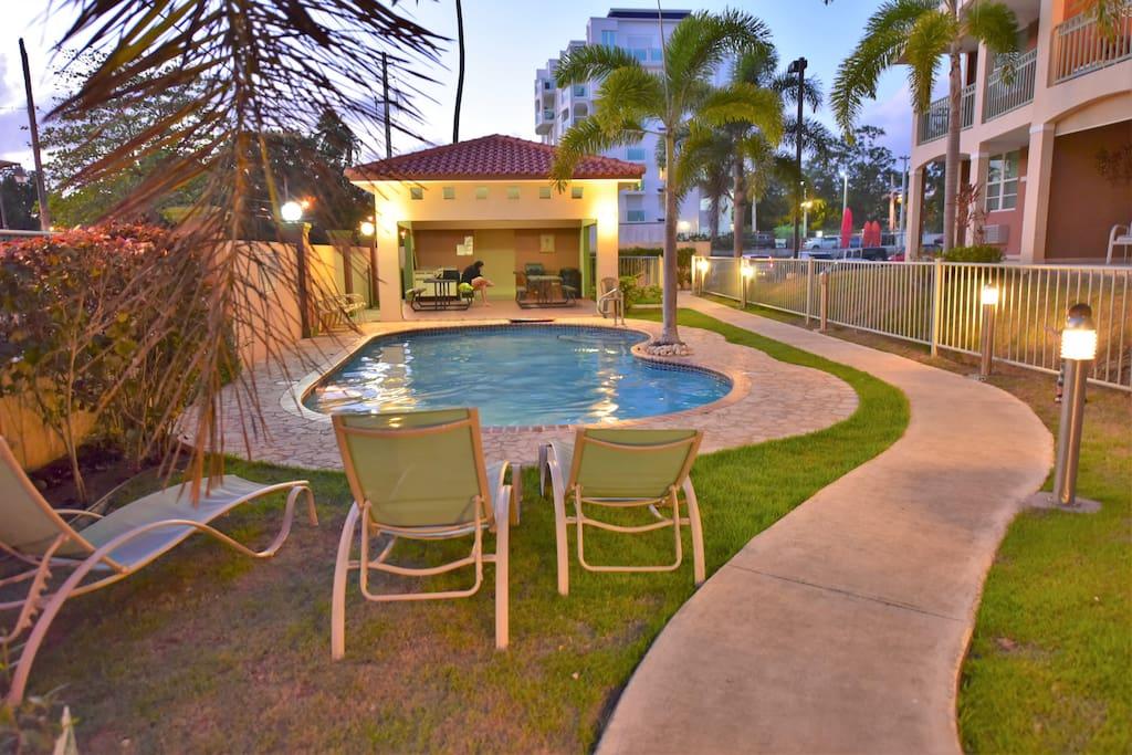 pool and gazebo area, gate to the beach