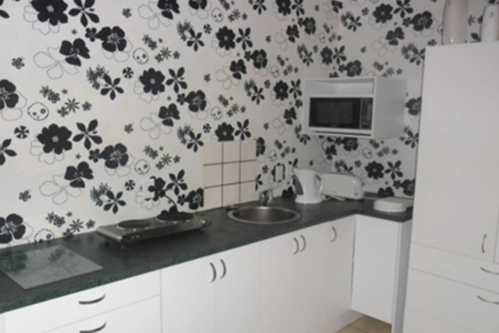 Simple kitchenette with microwave and 2 plate stove top and lots of storage