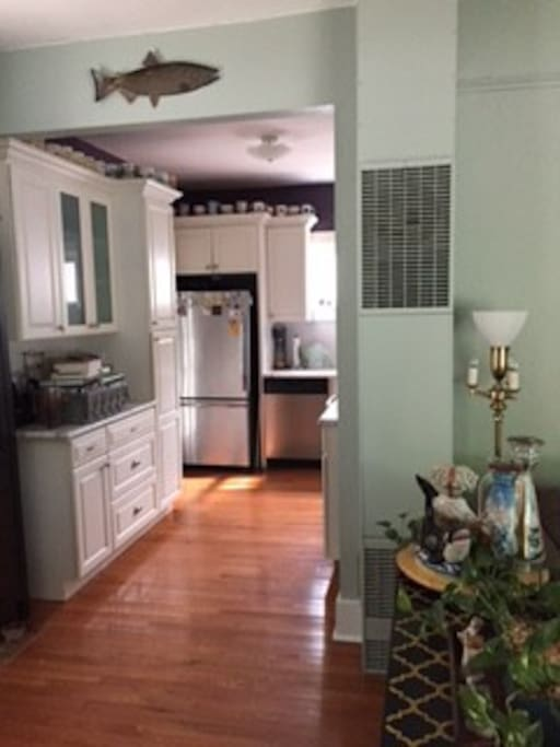 Kitchen with adjacent laundry room