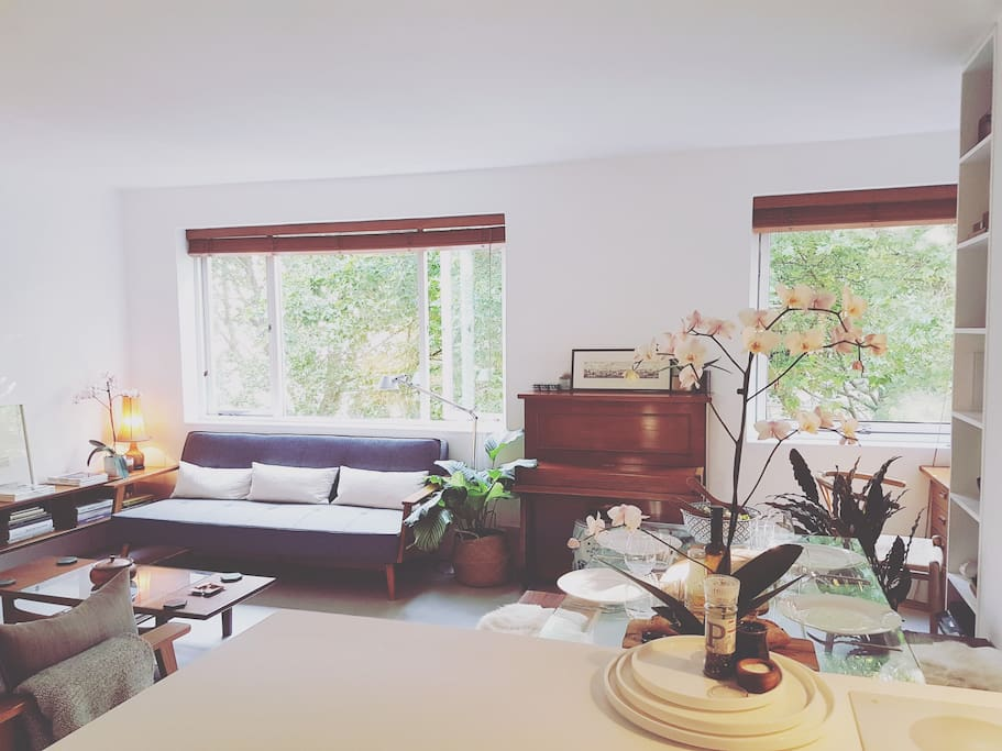 view of living room from kitchenette