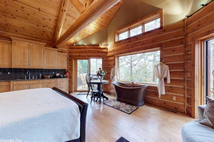 Overview of Cabin with Kitchenette and Double Copper Slipper Tub.