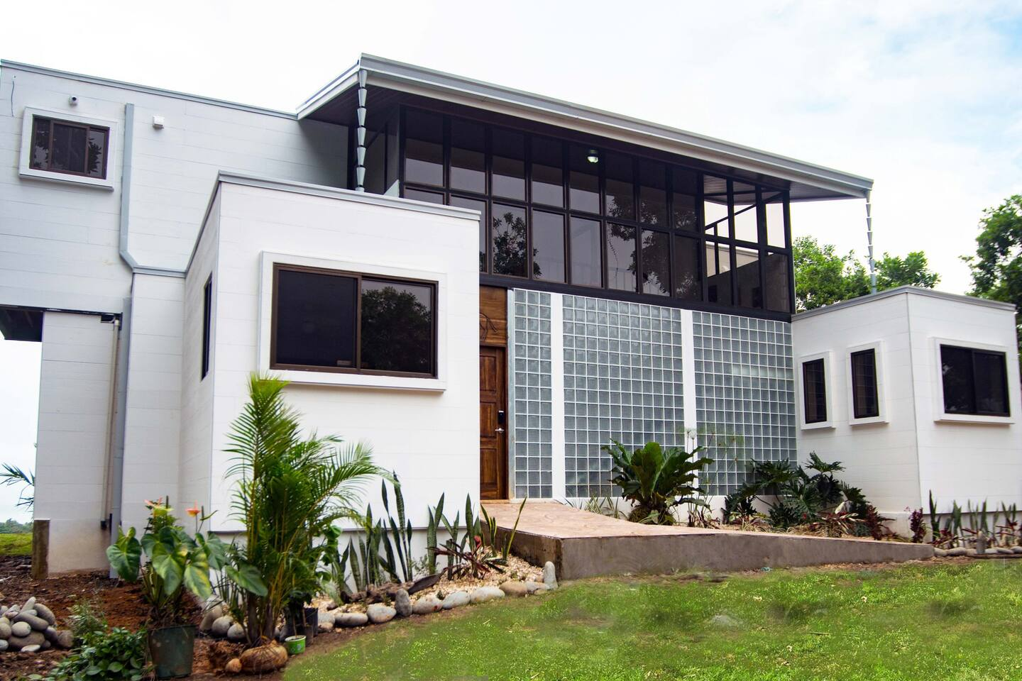 Spectacular front view of newly built eco villa