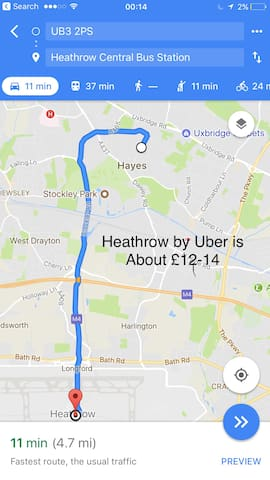 Short distance to Stockley Park and Heathrow.