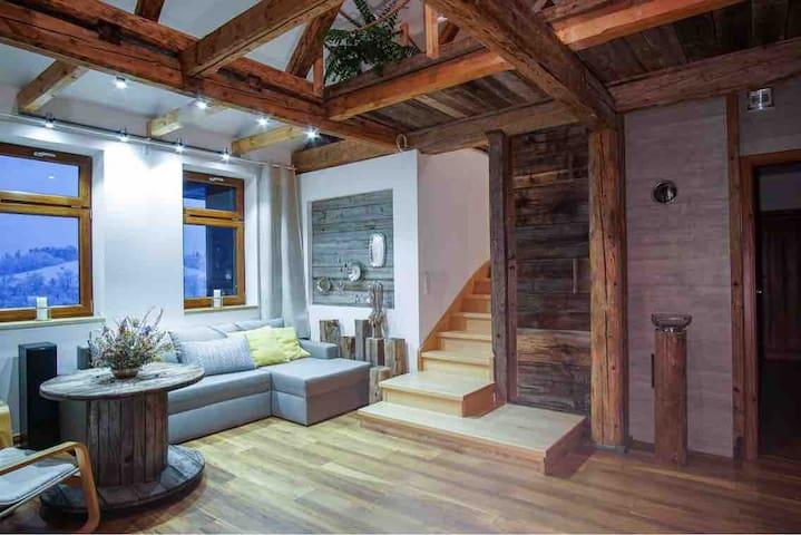 Apartament w domu z bali - Willa Chryzantema