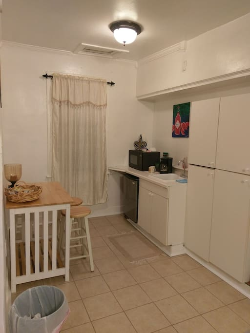 This is the private kitchenette equipped with mini-fridge, coffee maker and microwave.