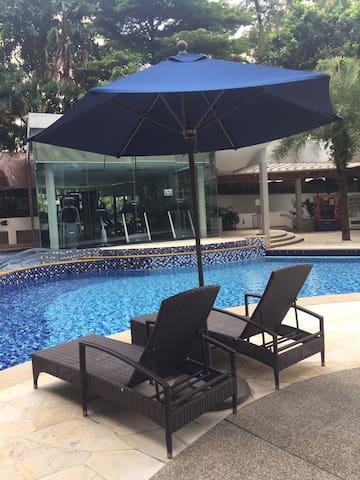 Sun desk in pool area