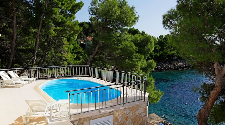 Seafront Villa Summer House with private pool by the beach on the island of Korcula