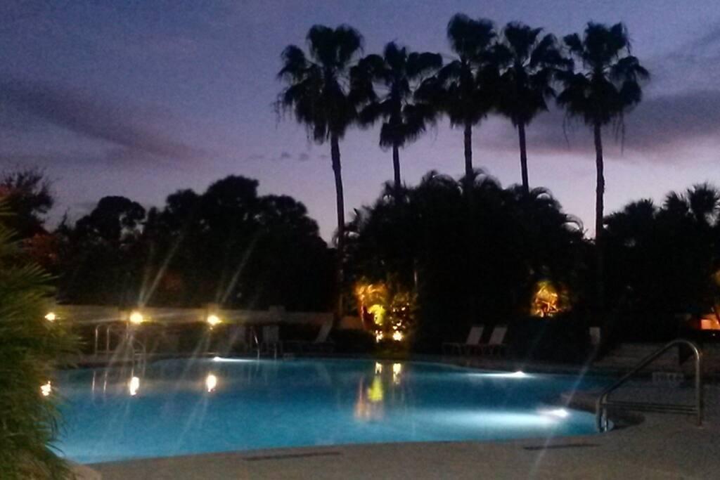 Stunning lagoon pool under a setting sun....