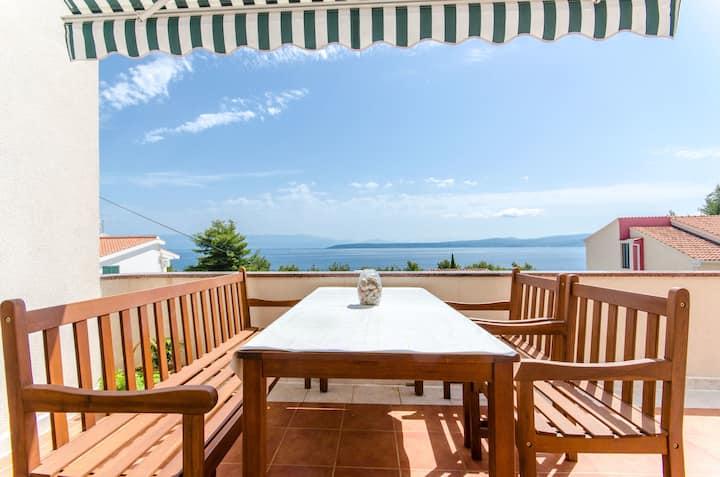 Two Bedroom Apartment, seaside in Stomorska - island Solta, Terrace