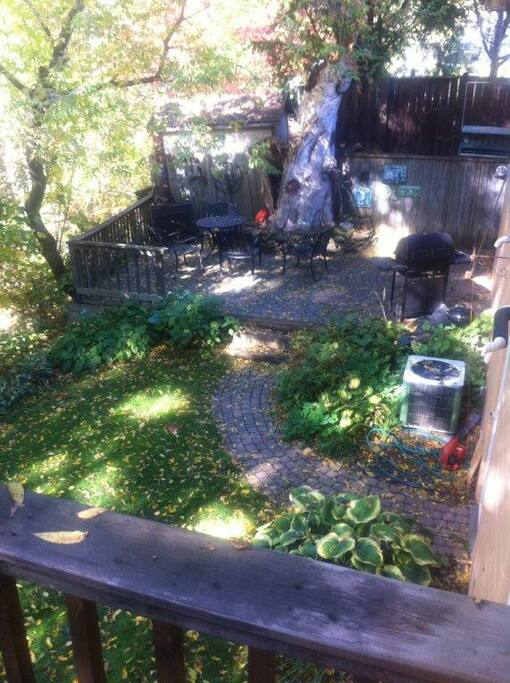 Landscaped garden with BBQ area and walk out decks
