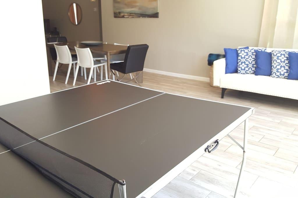 Enjoy playing ping pong